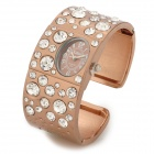 Ellipse Women's Titanium Alloy w/ Crystal Band Quartz Analog Bracelet Wrist Watch - Brown + Silver