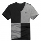 Stylish Cotton + Polyester T-Shirt for Men - Black + Grey (Size XL)