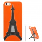 Creative Eiffel Tower Style Holder Stand Protective Plastic Back Case for iPhone 5 - Orange