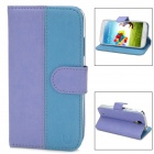 USAMS S4TY03 Protective Flip Open PU Leather Case for Samsung Galaxy S4 / i9500 - Purple + Blue
