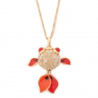 Zinc Alloy Chain Golden Fish Style w/ Rhinestones Pendant Necklace for Women - Golden + Red
