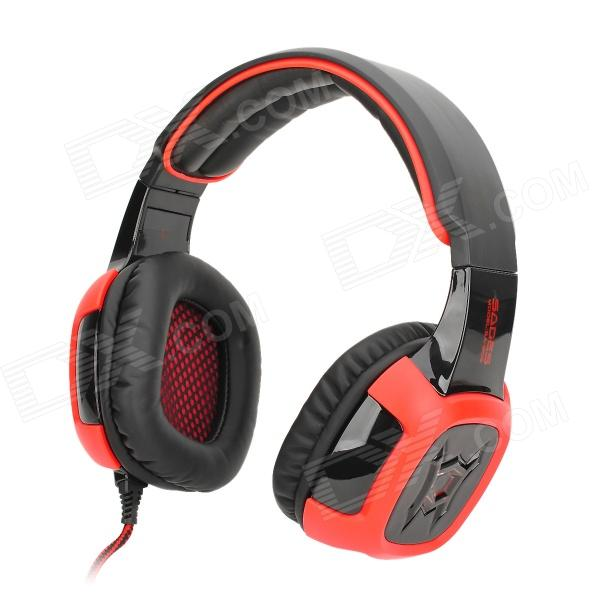 SADES SA-906 USB Wired Gaming 7.1-Channel Vibration Headphones - Black + Red (290cm-Cable) kotion each g2000 gaming headset pc gamer headphones headphone for computer auriculares fone de ouvido with microphone led light