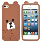 Cute Protective Cartoon Bear Style Silicone Back Case w/ Ears for iPhone 5 - Brown