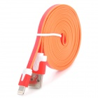 USB Male to Lightning Data Sync & Charging Flat Cable for iPhone 5 + More - Red + White (2m)