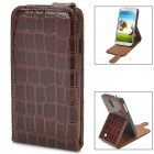 Protective Alligator Pattern  PU Leather Top Flip Open Case for Samsung Galaxy S4 / i9500 - Brown