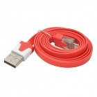 Universal USB to Micro USB Data/Charging Flat Cable w/ Indicator Light for MOTO V8 + More - Red