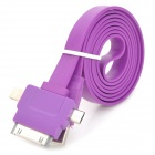 Compact USB Male to Apple 30 Pin + Lightning + Micro USB Male Data Sync & Charging Flat Cable (1m)