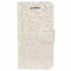 Stylish Honeycomb Pattern Protective Flip-open PU Leather Case w/ Holder for Iphone 5 - Creamy White