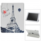 Stylish Eiffel Tower Pattern Folding PU Leather Smart Cover for iPad 2 / 3 / 4 - Black + White