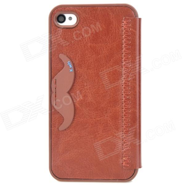 K.WIN IP-4 Stylish PU Leather + PC Protective Case w/ Cute Mustache Holder for Iphone 4S / 4 - Brown stylish flip open pu leather tpu case w holder for iphone 4 4s red