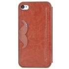 K.WIN IP-4 Stylish PU Leather + PC Protective Case w/ Cute Mustache Holder for Iphone 4S / 4 - Brown