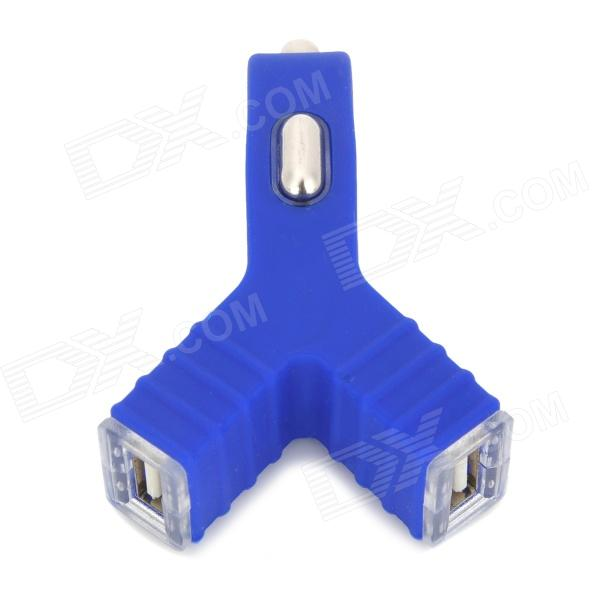 Universal Unique Y-shape Dual USB Output Car Charger w/ LED Indicator - Blue
