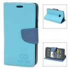 Protective PU + TPU Flip Open Case for HTC M7 - Black + Blue