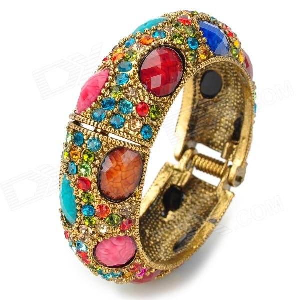 ZX-0611 Ellipse Stylish Women's Rhinestones Bracelet - Multicolored
