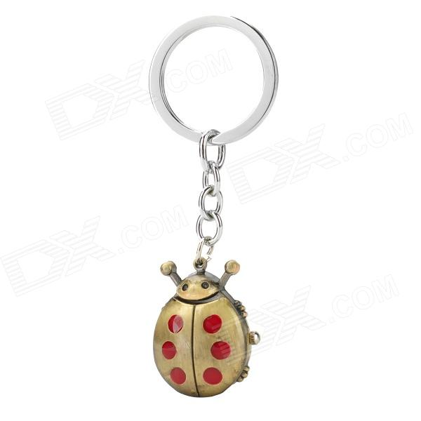Bug Style Resin Dial Aluminum Alloy Case Quartz Analog Keychain Watch - Bronze + Red (1 x LR41)