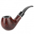 8018 Fashionable Engraved Designs Wooden Folding Tobacco Smoking Pipe  - White + Reddish Brown