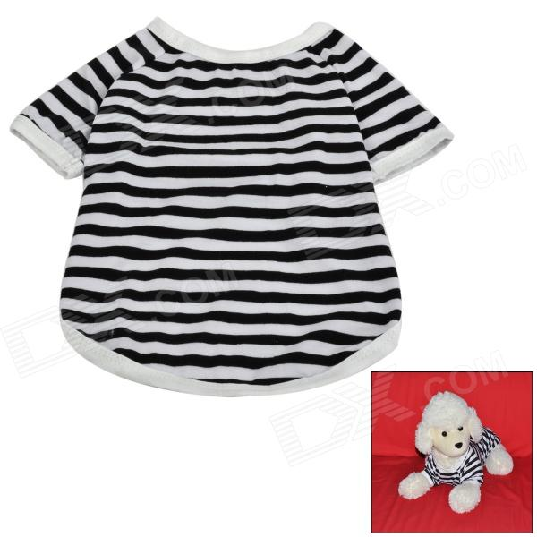 Cute Stripe Pattern Cotton T-shirt for Pet Dog - White + Black (Size M)