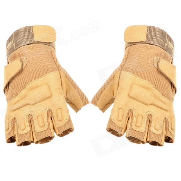 SW3013 Outdoor Climbing Windproof Half Finger Glove - Sand (Size XL)