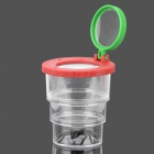 Convenient Three Fold Insect Visualizer ABS + PS + PMMA Cup - Red + Green