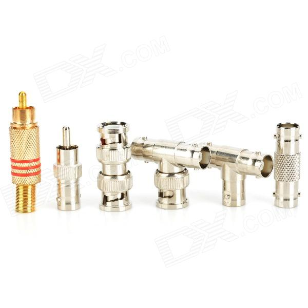 CCTV Aluminium Alloy Connector Adapter Tool Set - Silver + Golden (6 PCS) rf coaxial connector video connector bnc female jack to two dual 4mm banana binding male connector