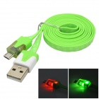 Blinkende LED flache USB-Stecker an Micro-USB-Stecker aufladen Datenkabel - Green (100 CM)