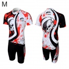Veobike Men's Cycling Short Sleeve Sweat Nylon Suit - Black + Red + White (Size M)
