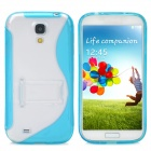 Protective S Style Back Case w/ Stand for Samsung Galaxy S4 i9500 - Translucent Blue