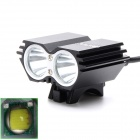 SL-8208B 2-Cree XM-L U2 2000lm 4-Mode White Bicycle Light / Headlamp - Black (4 x 18650)