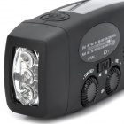 HY HY-88WB Solar Powered / Hand vevarmen AM / FM-Radio / LED ficklampa - svart