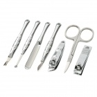 RIMEI 70045 Fashion 7-in-1 Stainless Steel Nail Clippers Scissors Manicure Tools w/ Case - Silver