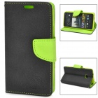 Fashion PU Leather Case w/ Card Slot for HTC One M7 - Green + Black