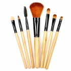 MEGAGA 1002 Professional 7-in-1 Fiber Cosmetic Brushes Set w/ Bag - Yellow + Black