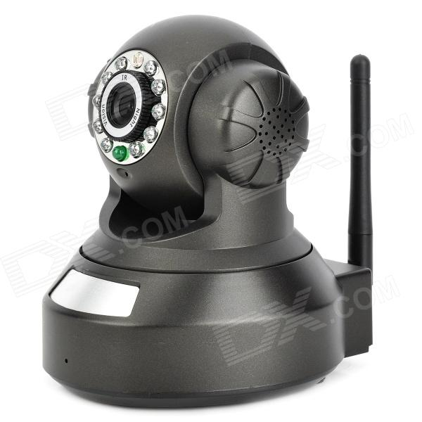 P2P Wireless Security Surveillance IP Camera w/ 1-IR LED Night Vision / RJ-45 / QR Code - Black