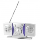 Convenient Portable Radio w/ Speaker - Silver + Purple (2 x AAA)