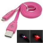 Smile Face Pattern Flashing Flat USB Male to Micro USB Male Data Charging Cable - Deep Pink (100 CM)