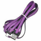 Fashion Flat USB Male to Micro 5 Pin Male Charging Data Cable - Purple + Black (200 CM)