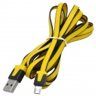 Fashion Flat USB Male to Micro 5 Pin Male Charging Data Cable - Yellow + Black (200 CM)