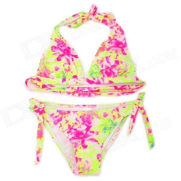 RELLECIGA Floral Blooming Pattern Bikini Top and Bottom - Multicolor (Size-M)