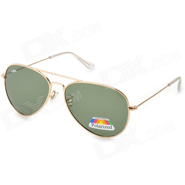 T-Rex 3025 Fashion UV400 Protection High-nickel Alloy Frame Resin Lens Aviator Sunglasses - Golden hong teng new arrivals high quality lens polarized sunglasses fashion men colorful glasses alloy frame with box