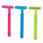Cairou E706 Plastic T-shaped Women's Shaver Razor - Deep Pink + Blue + Green (3 PCS)