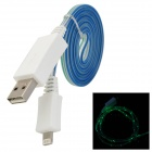 USB-zu-8-Pin Blitz Daten / Ladekabel w / Grüne LED Light for iPhone 5 - Weiß + Grün + Blau