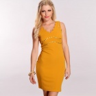 LC2793-1 Sexy Sweet Style Studded Decor V-Neck Scallop Trim Dress for Women - Wheat (Size-L)