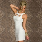LC2804-1 Women's Stylish Sexy Chest Hollow-out Crew Neck Sleeveless OL Dress - White (Size L)
