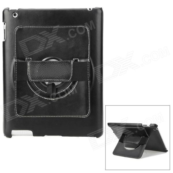 Protective PC Back Case w/ 360 Degree Rotation Hand Strap Holder for Ipad 3 / 4 - Black ipad 4 in 1 photo lens