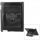 Protective PC Back Case w/ 360 Degree Rotation Hand Strap Holder for Ipad 3 / 4 - Black