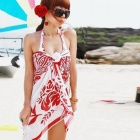LC40434 Fashionable Flower Pattern Chiffon Women's Beach Cover Up Dress - Red + White (Size-L)