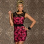 LC2806-2 Stylish Sexy Lace High Waist Dress for Women- Deep Pink + Black (Size-L)