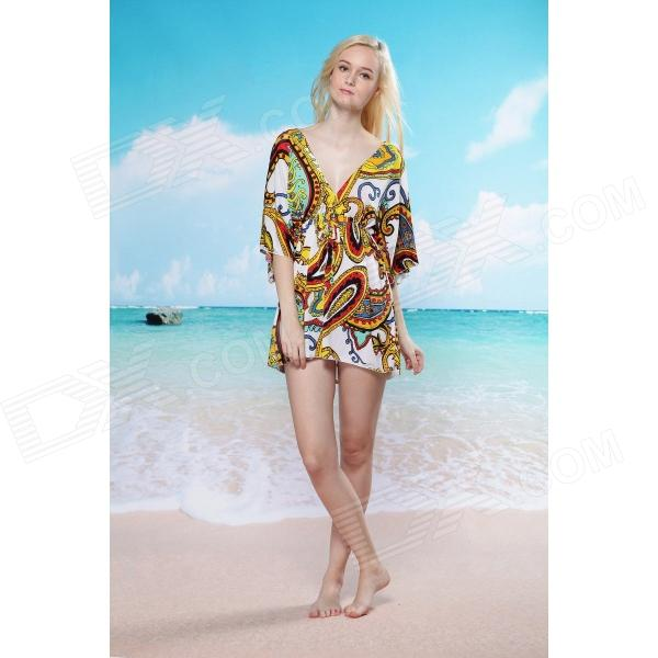 LC40705 Sexy Royal Polyester Beach Tunic Cover Up Dress for Women - Multicolored (Size-L)