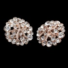 Charming Round Starfish Style Rhinestone + Albronze Women's Earrings - Transparent + Golden (Pair)