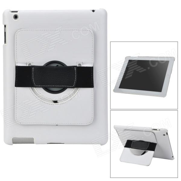 Protective PC Back Case w/ 360 Degree Rotation Hand Strap Holder for Ipad 3 / 4 - White bz bz126m 360 degree rotation hand strap